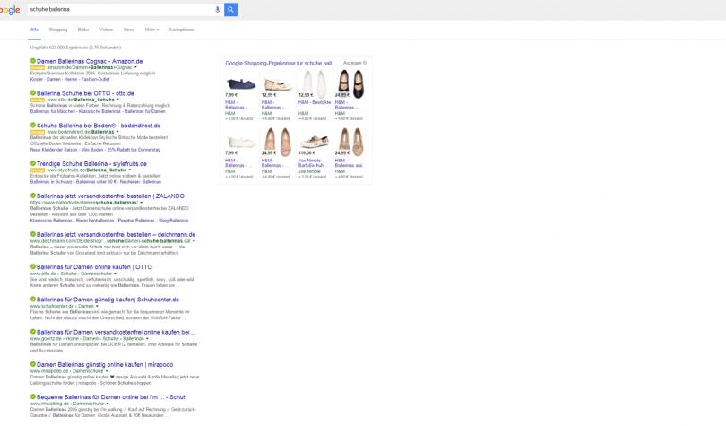 Screenshot Suchmaschinenoptimierung